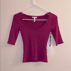 Leith magenta unique 3/4 quarter sleeve shirt
